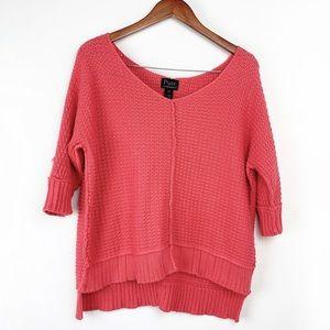 Pure Handknit Salmon Knit 3/4 Sleeve Sweater